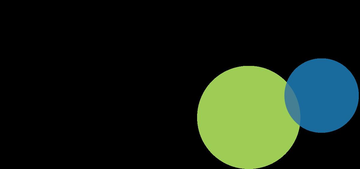 Knabstrup Hallens logo, grøn, blå og cirkler